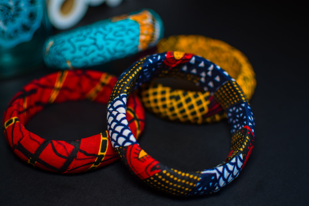 Set of 4 Ankara Kente Thick Bangles - 20mm or 30mm thickness