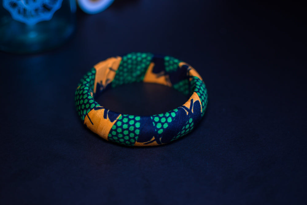 African Sunflower ankara African bracelet bangle - 20mm or 30mm thickness