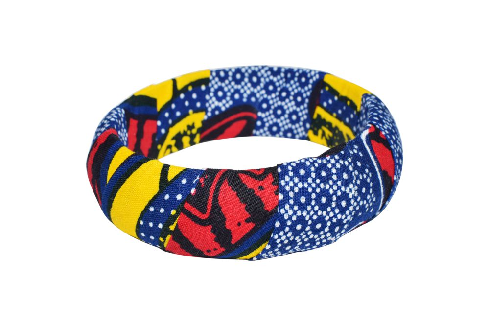Chawasarira bangle bracelet - Multi-color Kente - 20mm or 30mm thickness