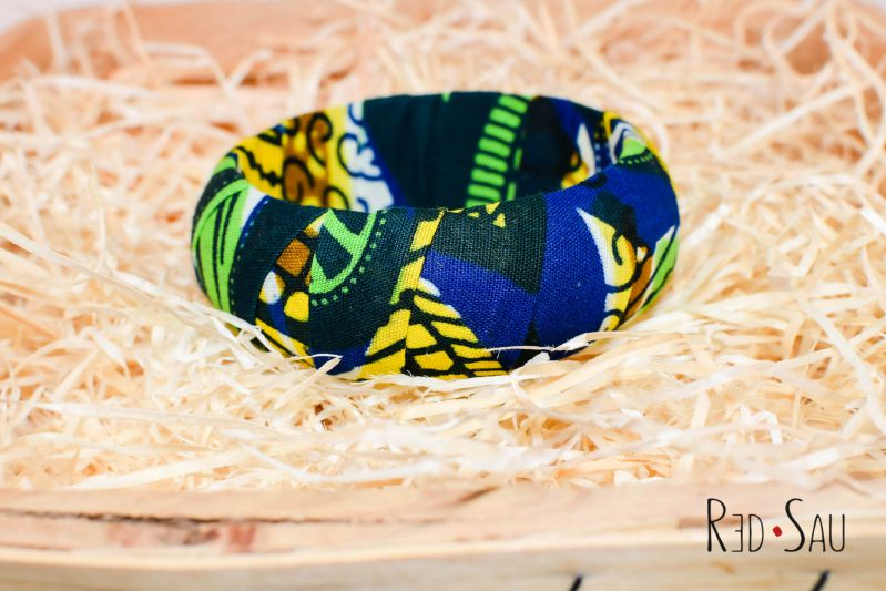Mamncane Pack of 4 x African Ankara Wax Print Thick Bangles - 20mm or 30mm thickness