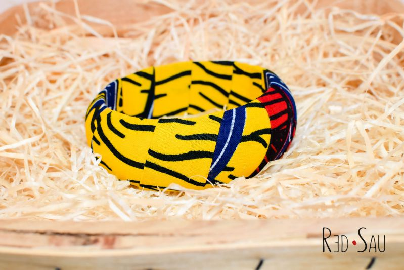 Bossu Kena ankara African bracelet bangle - 20mm or 30mm thickness