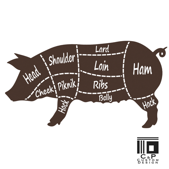 Butchers Pig Stylized Word  Metal Wall Art is perfect for your home or retail space. An artistic statement for butchers, BBQ and and all those who love meat! Whether as a gift or as a display piece, it is the perfect complement to any rustic, farmhouse, industrial, and contemporary decor.  Looking for a cow or a chicken in this style? Contact us about ordering a custom piece! Size: 24 x 13 Installation:    Easily attached to a wall or other surface.  Hardware is not included. Construction:  Sturdy