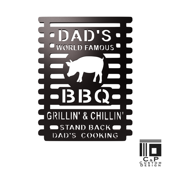 Dads World Famous BBQ Grillin Word  Metal Wall Art is perfect for BBQers as an artistic statement of their love for meat or great decor for retail space. Whether as a gift for Dads birthday, Fathers Day, or Christmas; it is a complement to rustic, farmhouse, industrial and contemporary decor.  Looking for more ways to show your love for cooked meat? Contact us about ordering a custom piece! Size: 9 x 12 Installation:    Easily attached to a wall or other surface.  Hardware is not included. Construct