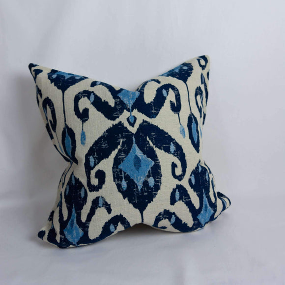 Unique luxury decorative pillow cover, in shades of blue and cream to add that final layer design and decor to any room in your home.  The perfect accent; this pillow cover is locally made. Other Features:  Hidden zipper to allow for easy addition of your choice of feather or poly fiber-fill insert (purchased separately).  And edge trim is top stitching 1/2 inch in from seam. Inside edges finished where applicable to minimize fraying. Sizes:  24 x 24 standard sizing or client can request custom size t