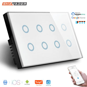 Wifi Smart Touch Light Wall Switch Interruptor Glass Panel 8 Gang 147*86mm Tuya App  SmartLife Compatible with Alexa Google Home