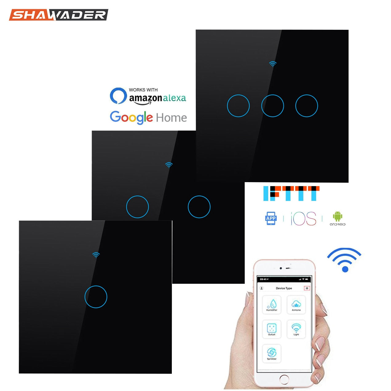 Wifi Smart Light Switch Glass Touch Panel Voice Wireless Remote Control Electrical Power Lamp Switches by Tuya Alexa Google Home