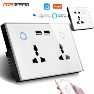 WIFI Smart USB Wall Socket Universal Electrical Plug Outlet 15A Power Touch Switch Wireless Charge Work with Alexa Google Home