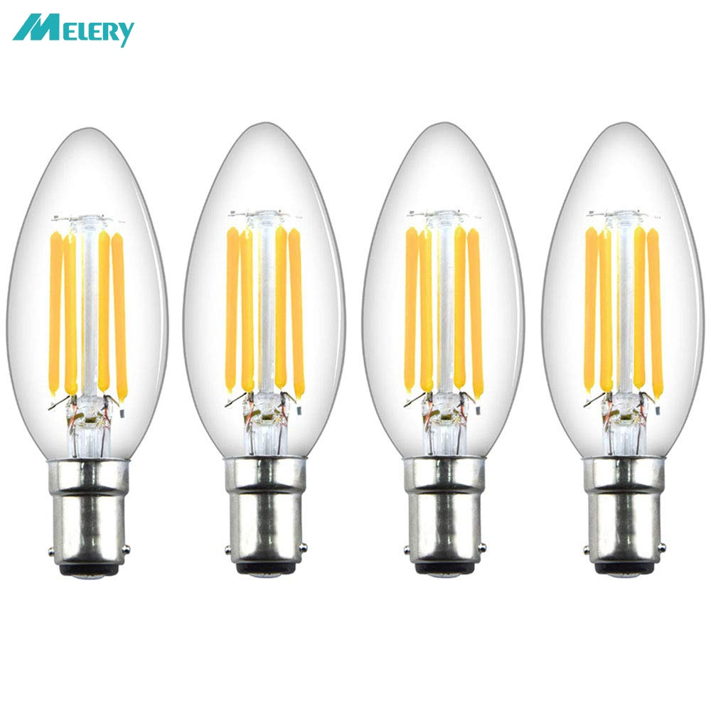 LED Candle Filament Light Bulbs Dimmable B15 SBC Bayonet 4W Ba15d Vintage  Warm White 2700K 40W Replacement (4Pack) Home Office