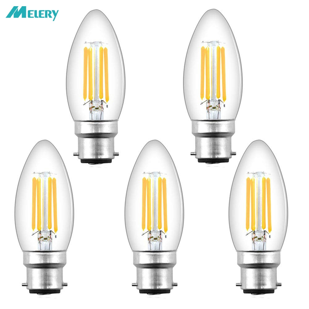 B22 LED Candle Filament Light Bulb 4W C35 Dimmable Bayonet Vintage Edison Warm White 2700K Cold 6500K Equal 40W Incandescent