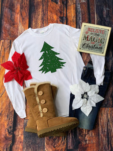 Distressed Green Christmas Tree Shirt