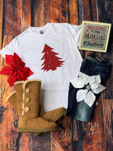 Distressed Red Christmas Tree Shirt