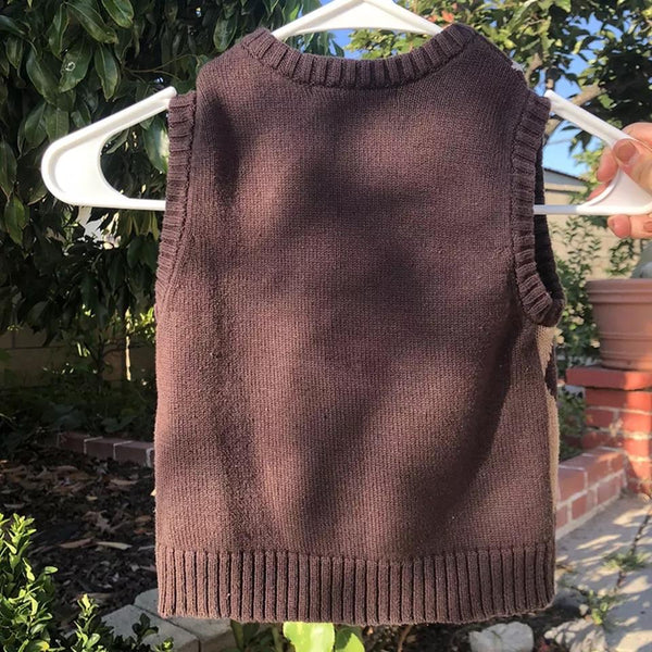 Brown Argyle Vest Sweater - Sour Puff Shop