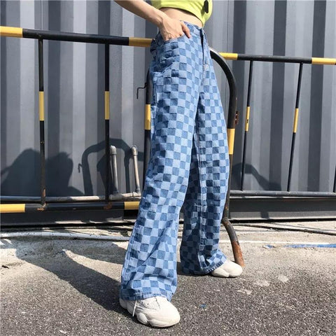 Checkered Blue Wide Leg Pants-Sour Puff Shop