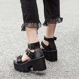 Chunky High Heeled Sandals-Sour Puff Shop