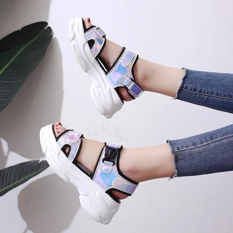 ✨Chunky Holographic Sandals✨-Sour Puff Shop