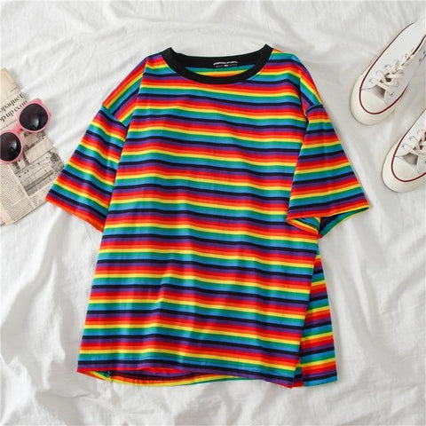 Colorful Striped T-Shirt-Sour Puff Shop
