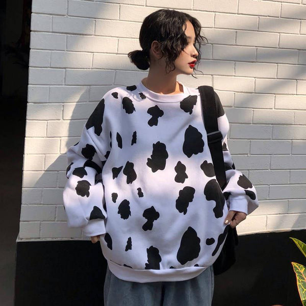 Cow Pattern Sweatshirt 🐮 - Sour Puff Shop