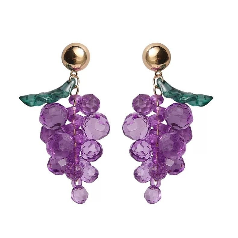 Crystally Grape Earrings 🍇 - Sour Puff Shop