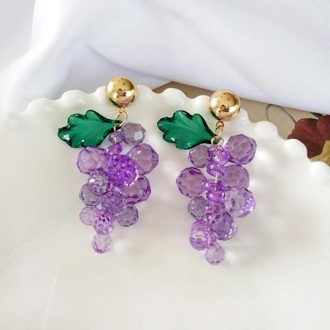 Crystally Grape Earrings 🍇-Sour Puff Shop