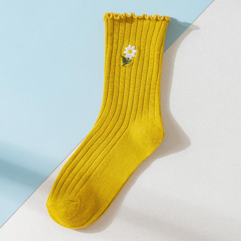 Daisy Flower Ruffled Socks 🌼💗 - Sour Puff Shop