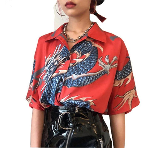 Dragon Buttoned Shirt 🐉♥️-Sour Puff Shop