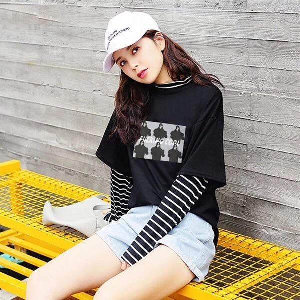 """F*CKING COOL"" LONG SLEEVED STRIPED SHIRT - Sour Puff Shop"