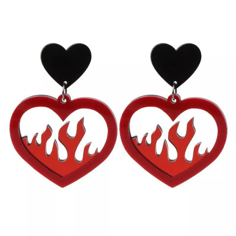 Flamin' Heart Earrings ♥️🔥-Sour Puff Shop