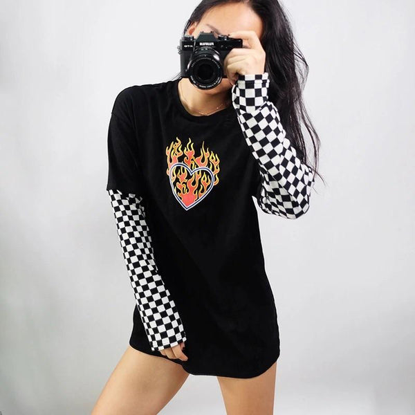 Flaming Heart Sweatshirt ♥️🔥 - Sour Puff Shop