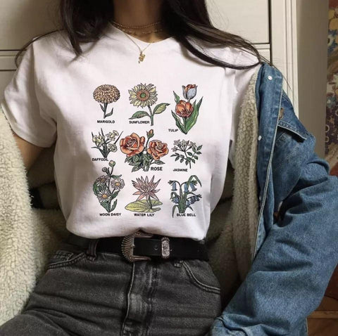 Flower Floral T-Shirt 🌻🌷-Sour Puff Shop