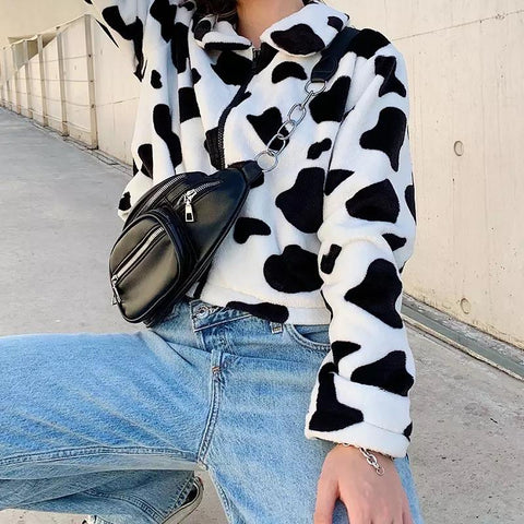 Fluffy Cow Pattern Jacket 🐮⚡️-Sour Puff Shop