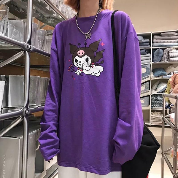 Flying Devil Harajuku Sweatshirt 😈🔥 - Sour Puff Shop