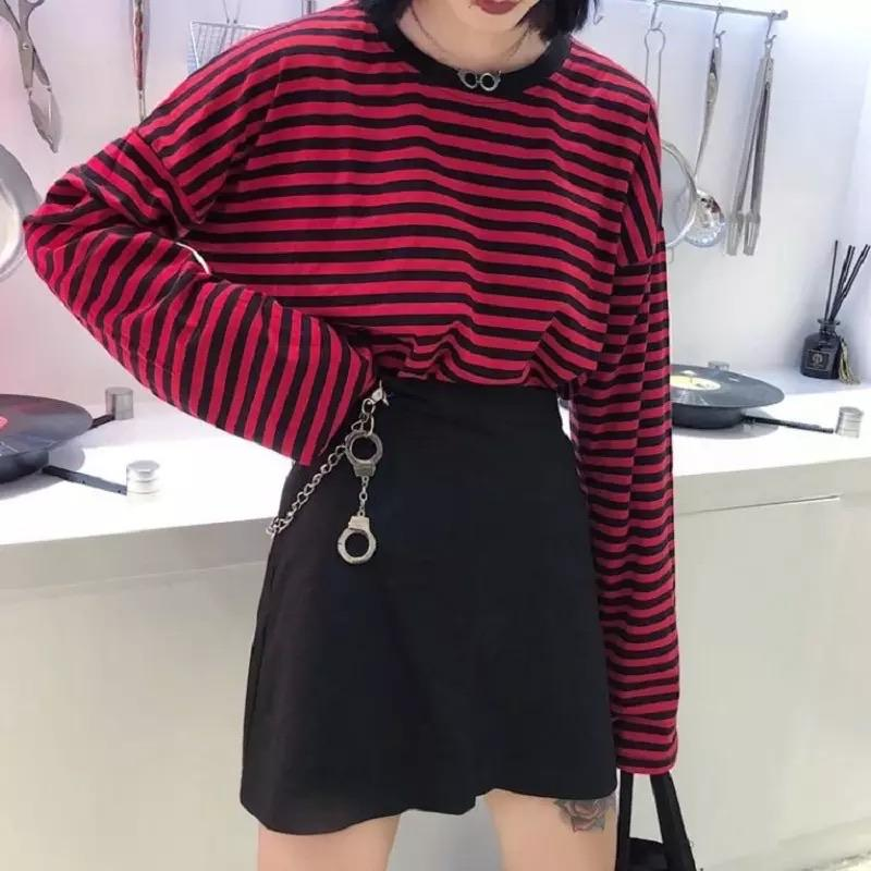 Grunge Red Striped long-sleeved shirt ❤️ - Sour Puff Shop