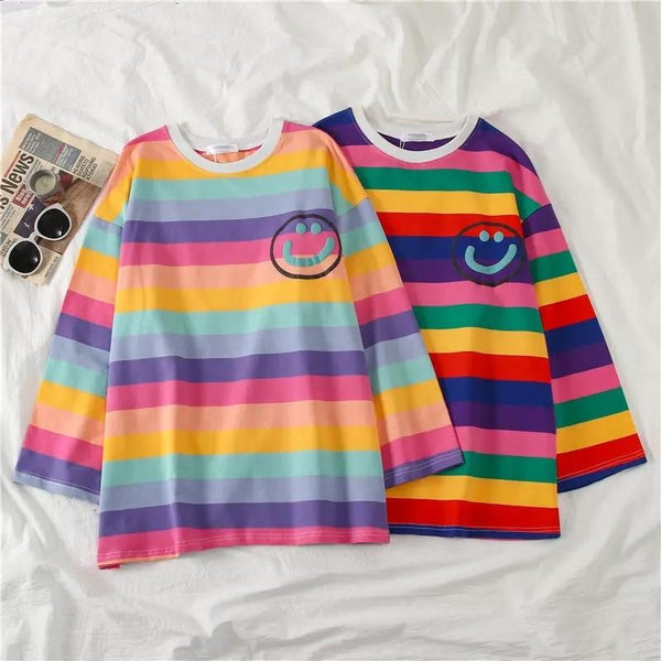 Happy-Face Striped Sleeved Shirt - Sour Puff Shop