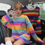 Happy-Face Striped Sleeved Shirt-Sour Puff Shop