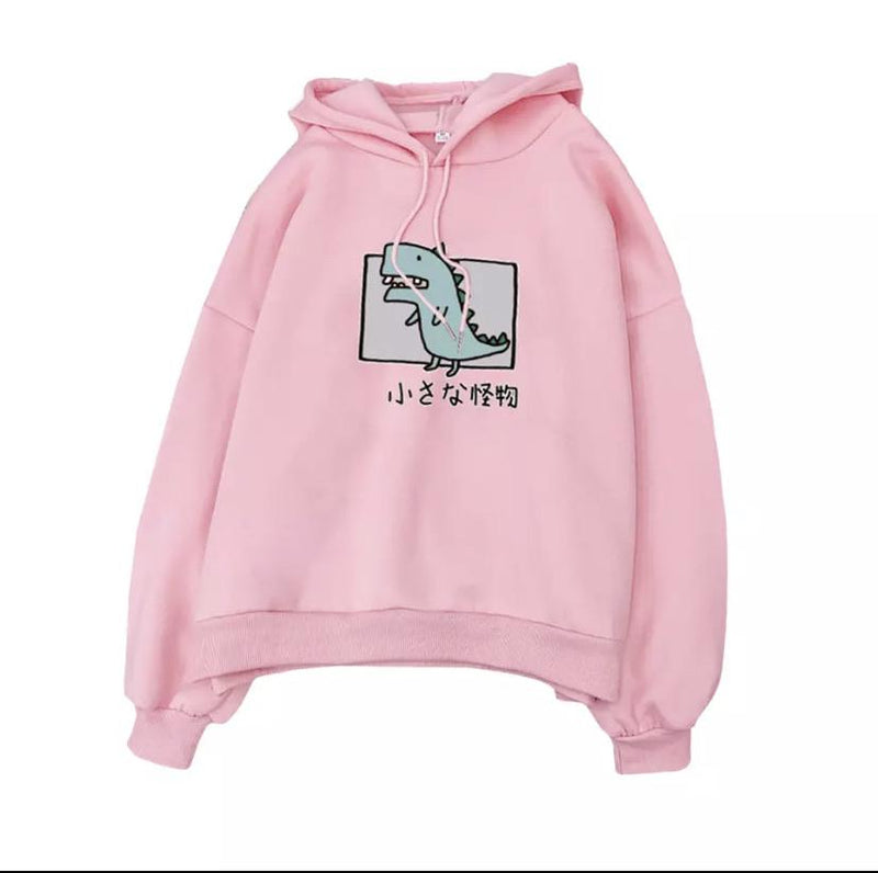 Harajuku Dino Pullover Hoodie 🦖💗 - Sour Puff Shop