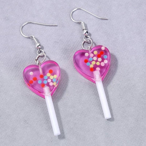Heart Candy Covered lolli-earrings 💘🍬-Sour Puff Shop