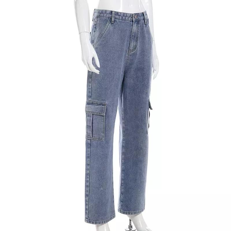 High Waisted Loose Pocket Jeans - Sour Puff Shop