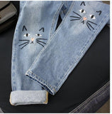 Kitty Embroidered Jeans 🐾-Sour Puff Shop
