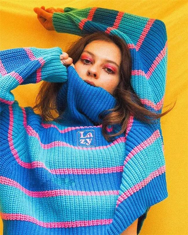Lazy Bubblegum Turtleneck Sweatshirt 🧬 - Sour Puff Shop