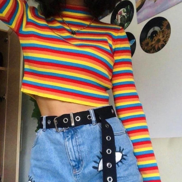 Rainbow Knitted Crop Top 🌈 - Sour Puff Shop