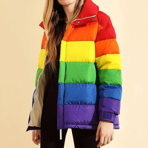 Rainbow Puffed Jacket 🌈💗-Sour Puff Shop