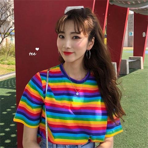Rainbow Striped T-Shirt 🌈-Sour Puff Shop