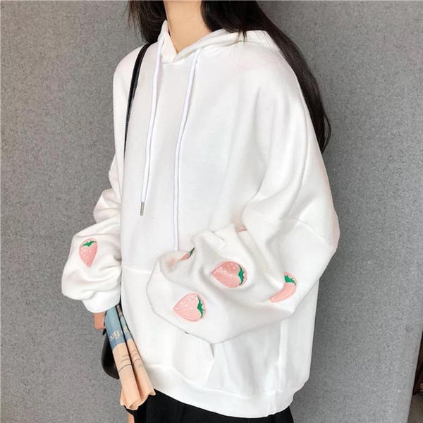 Strawberry Embroidered Hoodie 🍓💕 - Sour Puff Shop