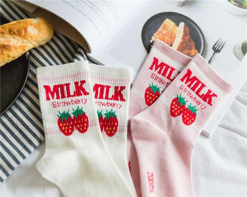 Strawberry Milk Socks - Sour Puff Shop