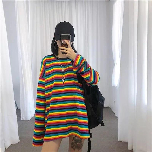 STRIPED SLEEVED SHIRT🌈 - Sour Puff Shop