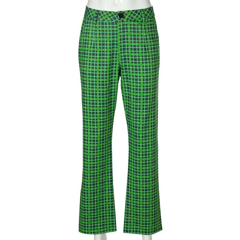 Vibra-Green Checkered Pants 💚⛓ - Sour Puff Shop