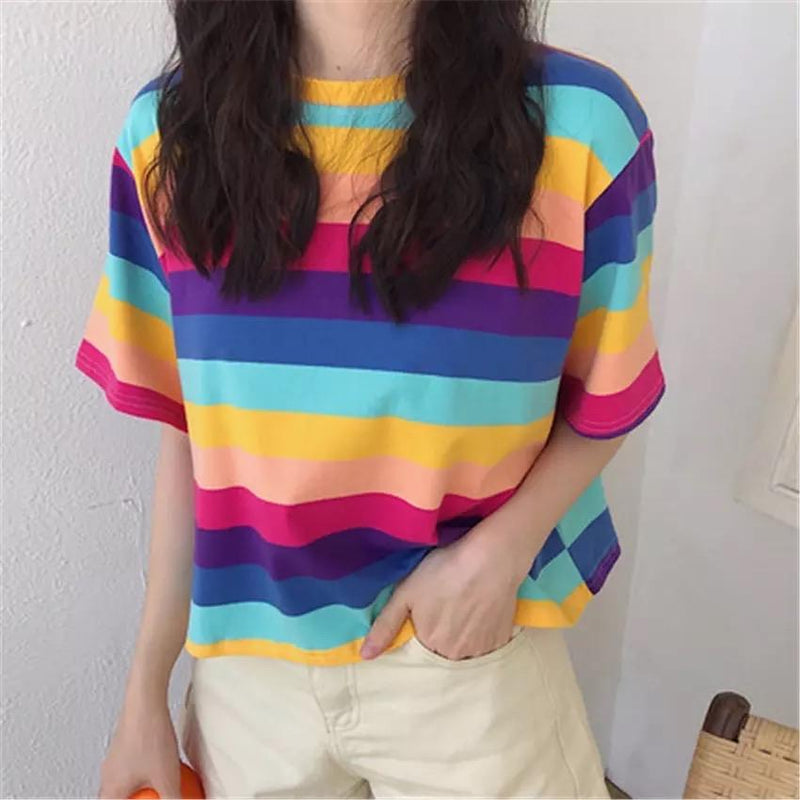 Vibrant Lola Striped T-Shirt 💜 - Sour Puff Shop