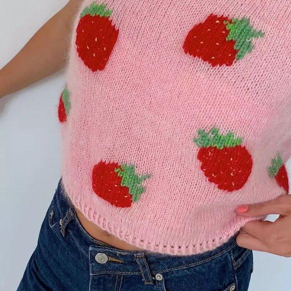 Y2K Strawberry Vest Sweater 🍓💗 - Sour Puff Shop