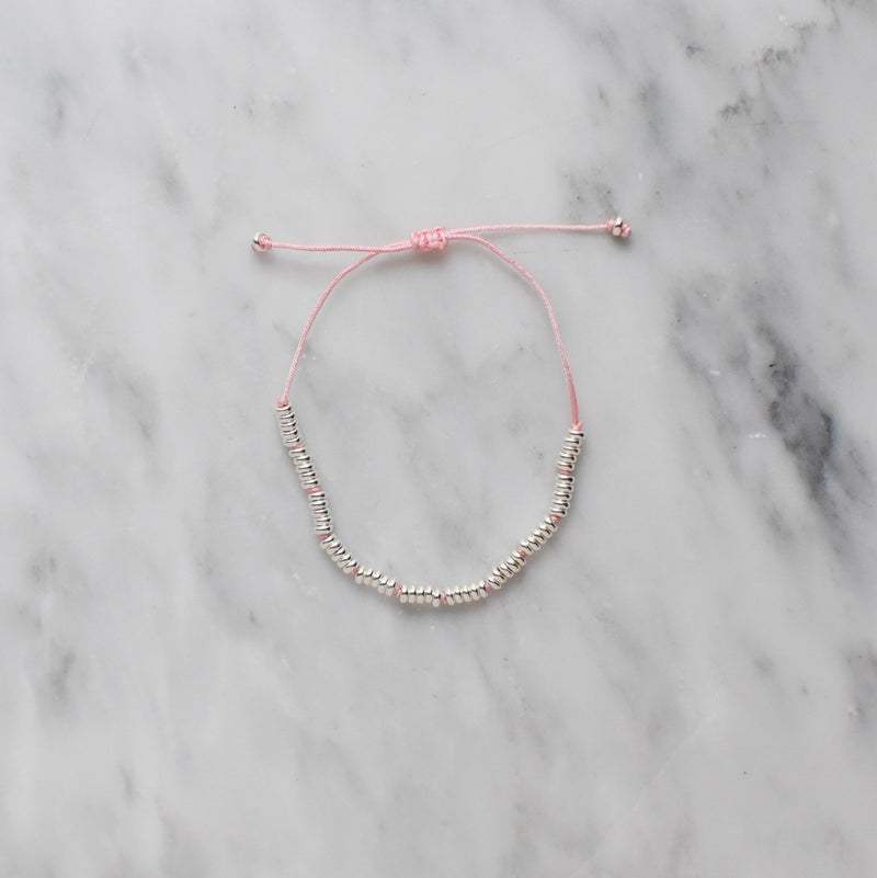blush nylon and sterling silver bracelet