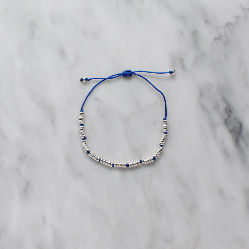 blue nylon and sterling silver bracelet